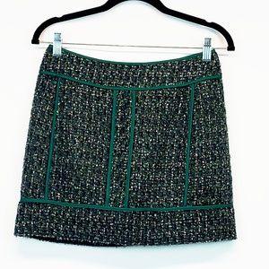 J. Crew Green Tweed Mini Skirt